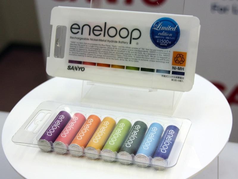 写真は2009年に発売した「eneloop tones」。クレヨンをイメージしたようなデザインで、ツヤを消したマットな仕上がりとなっている