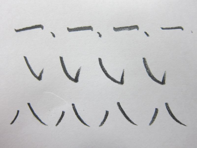 筆鉛筆で書いたところ。上段から、トメ、ハネ、ハライ