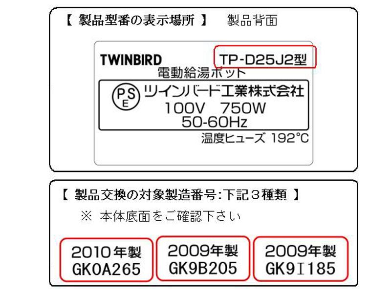 製品型番と製造番号