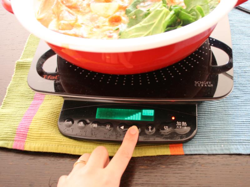 レシピでは火力調節の指示が明確に出ているので、IH調理器初めての人でも分かりやすい