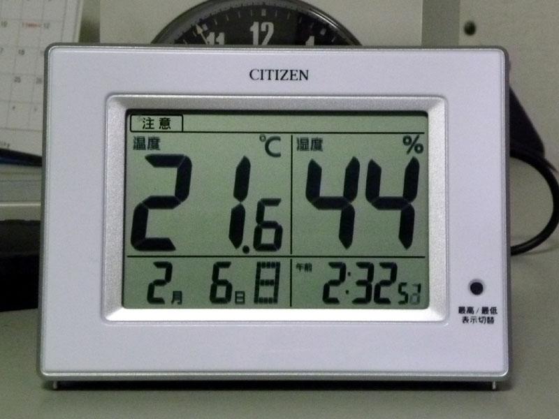 自室での計測結果。湿度が高めのせいか「注意表示」は出なかった