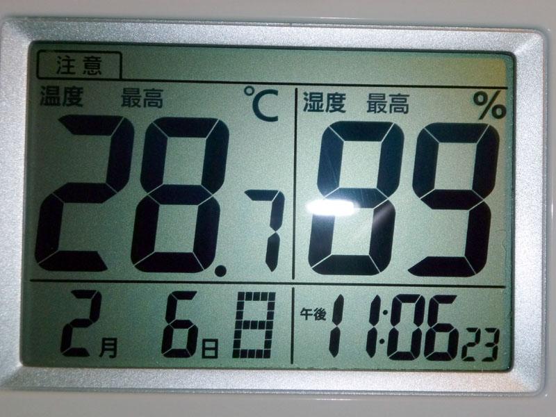 最高温度と湿度。どこで28.7℃になったのかわからない。直射日光にあたったのか