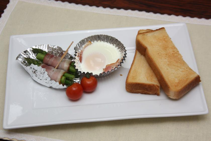 パンはサクサク、卵は完熟と半熟の中間、アスパラはジューシーに仕上がった
