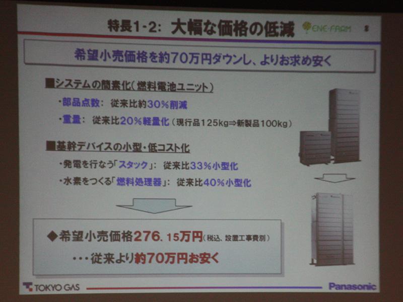 低コスト化により、希望小売価格が約70万円下がった