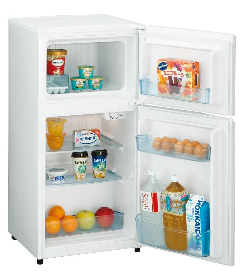 容量98Lの小型冷凍冷蔵庫「JR-N100C」。ホワイト