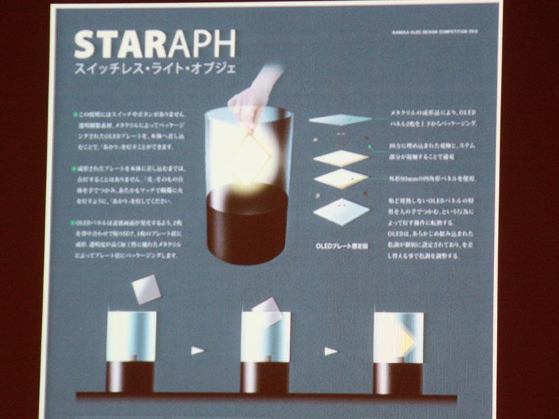 佳作の「STARPH(スタラフ)」。光源のプレートを本体に差し込むことで、はじめて明かりが点灯する