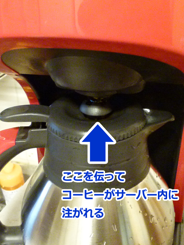 ドリップされたコーヒーは、サーバーの蓋にある弁を伝って、サーバー内に注がれていく
