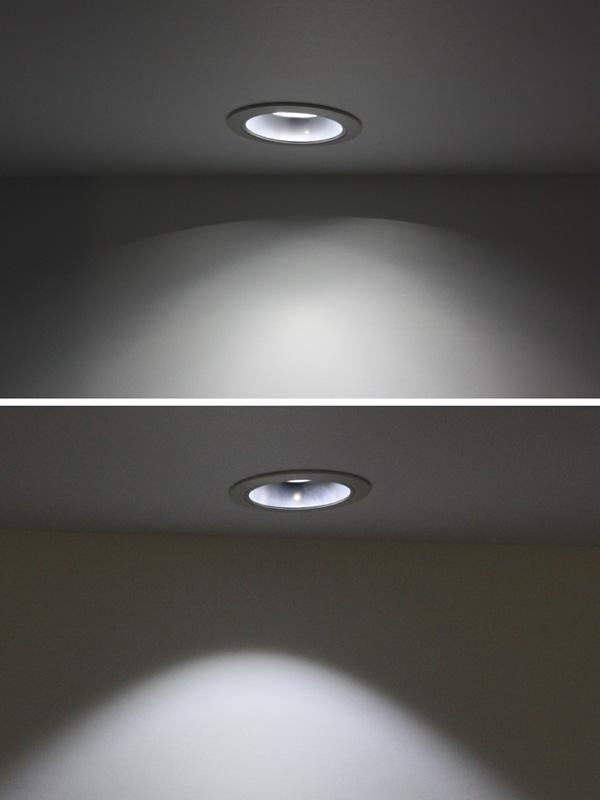 従来品(写真上)と新製品(下)との、光と影の比較。壁面に映った影が、従来品では多重に重なっている