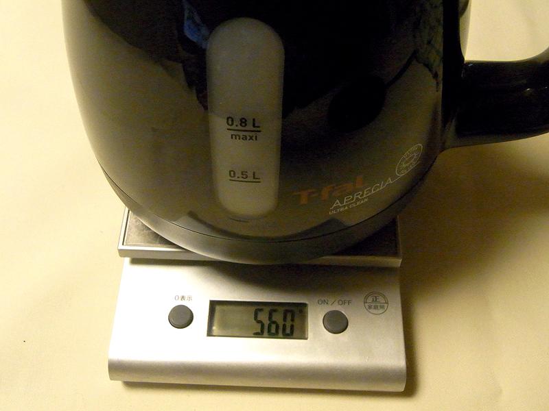 ケトル本体の重量は560gしかない