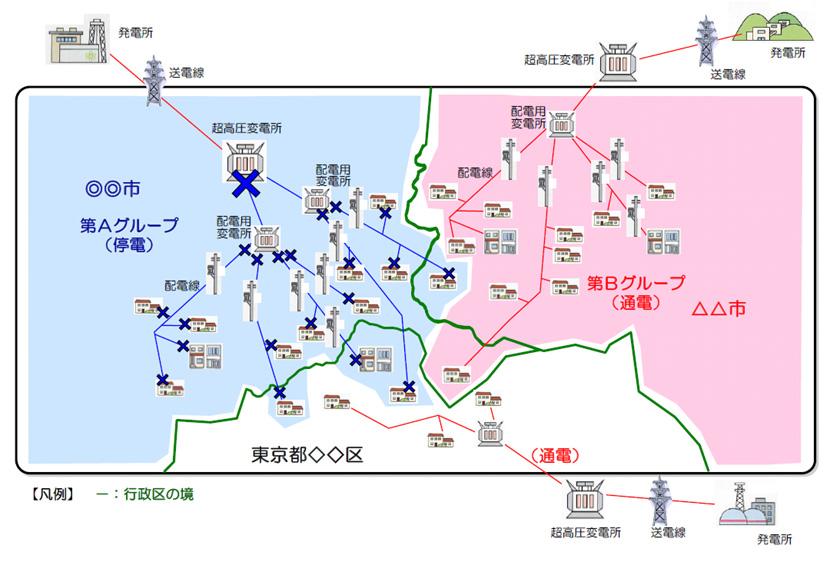 計画停電範囲のイメージ図