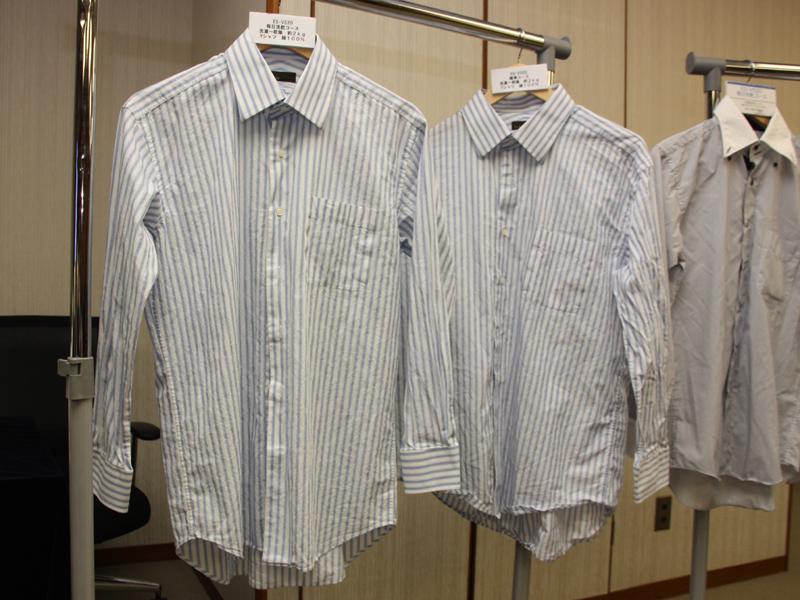 綿100%のシャツを乾かした場合。左がES-V520、右が従来機種で乾かしたもの