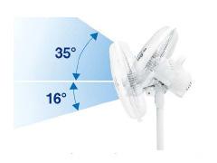 送風部は上に35度、下に16度傾く