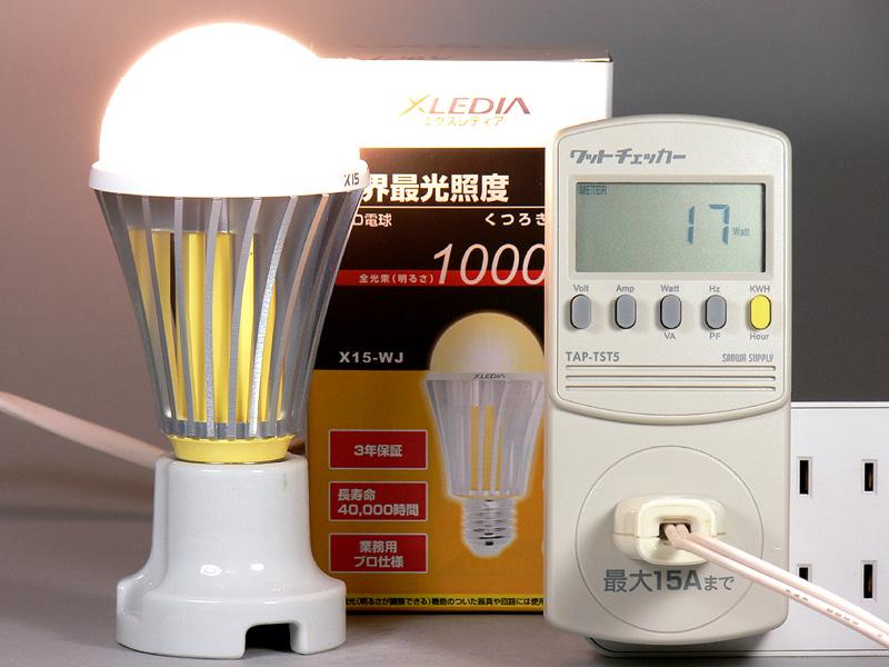 <b>【エクスレディア・電球色 X15-WJ】<br></b>消費電力17W。消費電力1Wあたりの発光効率は、58.82m/W