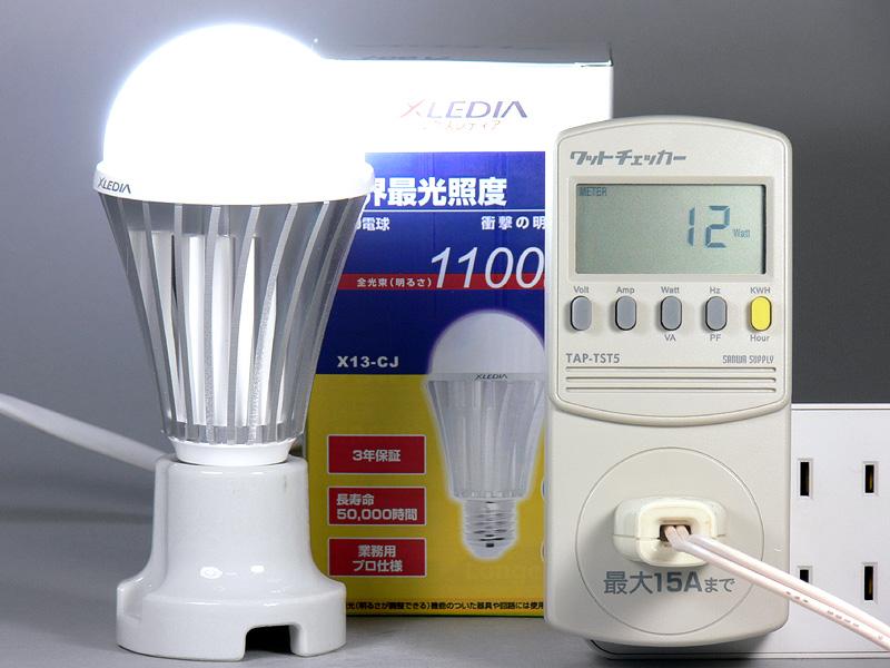 <b>【エクスレディア・昼光色 X13-CJ】<br></b>消費電力12W。消費電力1Wあたりの発光効率は、91.66lm/Wとエクスレディアの中で最も効率が良い
