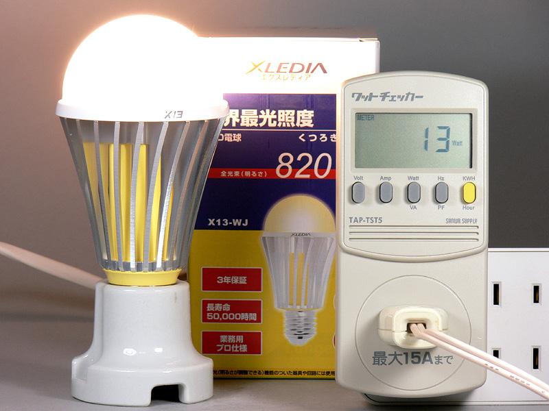 <b>【エクスレディア・電球色 X13-WJ】<br></b>消費電力13W。消費電力1Wあたりの発光効率は、63.07lm/W