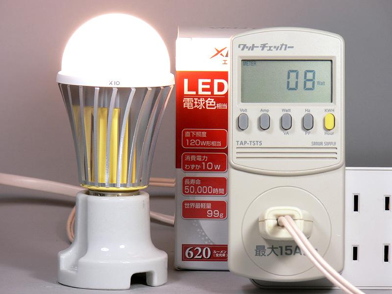 <b>【エクスレディア・電球色 X10-WJ】<br></b>消費電力8W。消費電力1Wあたりの発光効率は、77.5lm/W