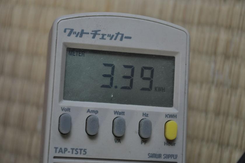 ワットチェッカーで計測した。深夜などの消費電力の少ない時間帯に使うほうが良さそうだ