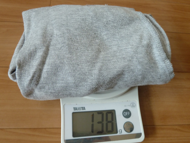 女性用長袖Tシャツの重さは138g