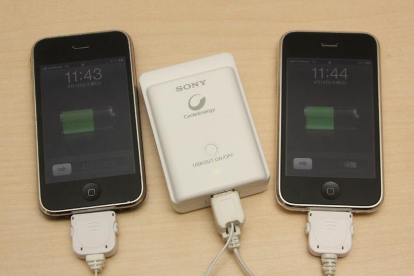 iPhone 3GS同士の場合。写真では充電されているが、エラーが表示されることも度々あった