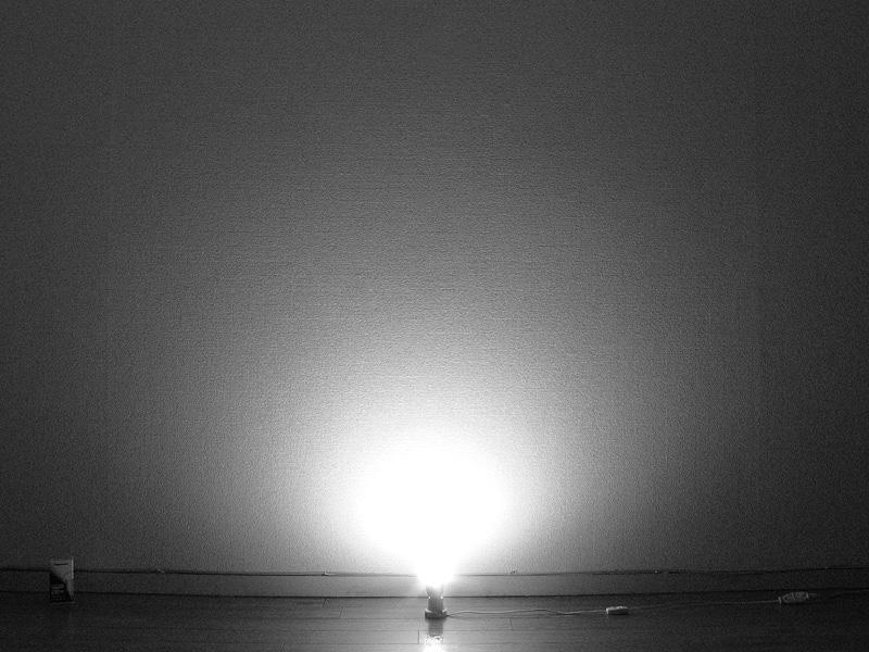 <b>【エバーレッズ LDA9L-H】</b><br>ほぼ球形に光が拡散しているが、電球の横方向、ソケット付近への光の回り込みは弱め。光自体は遠くまで届いている