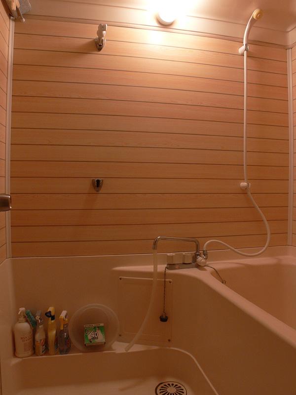 <b>【白熱電球:40W形】</b><br>浴室全体に光は行き渡るものの、少し物足りない明るさだ