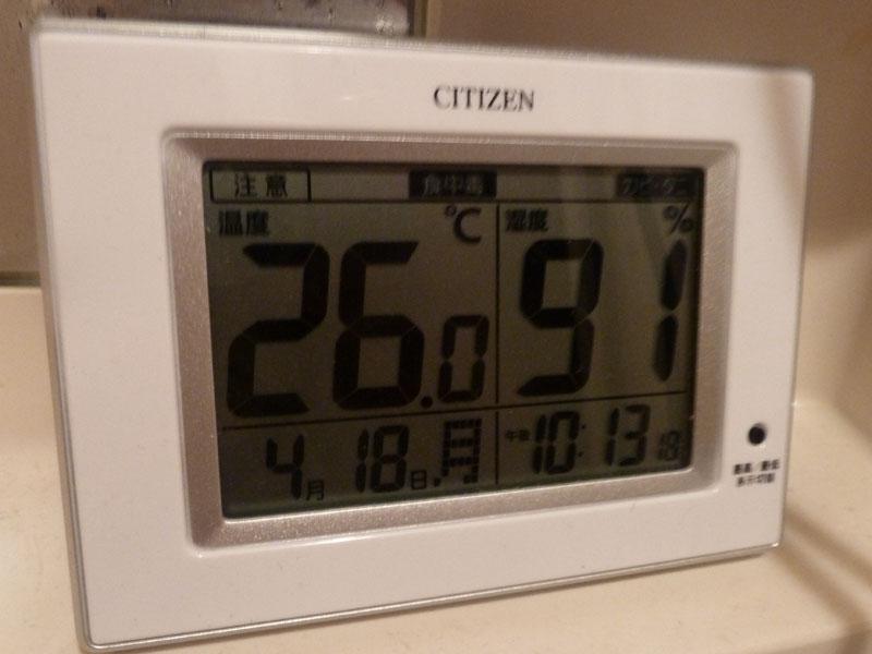 換気扇を付けずに、窓を閉め切った状態で乾燥運転を行なったところ、運転終了間近には温度26℃、湿度91%まで上がっていた