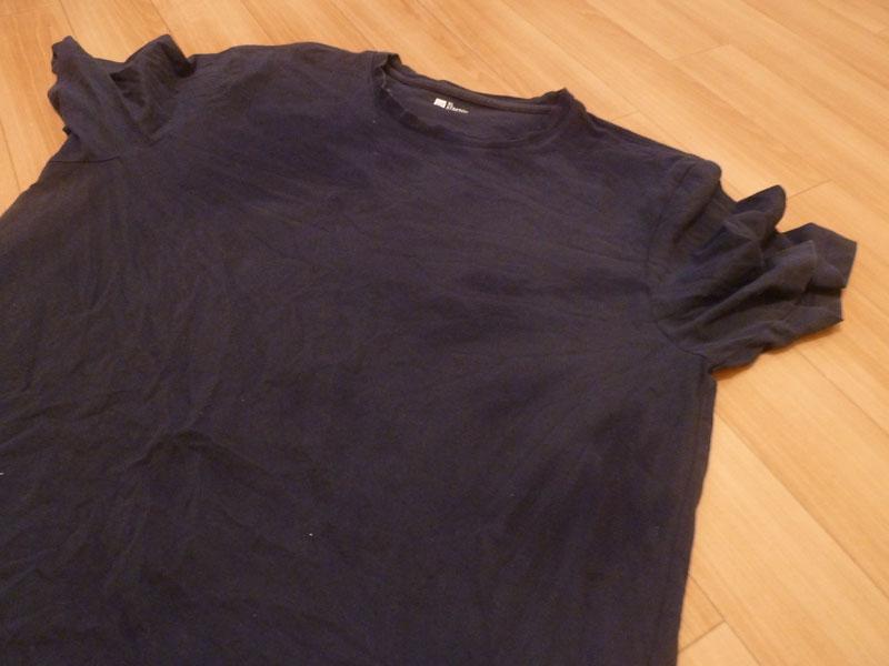 自動コースに設定しても乾きムラが残ることがあった。写真はTシャツ。色が変わっているところはまだ湿り気がある