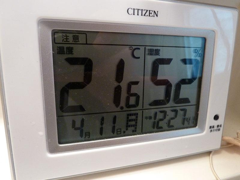 この日の最大湿度は52%だった