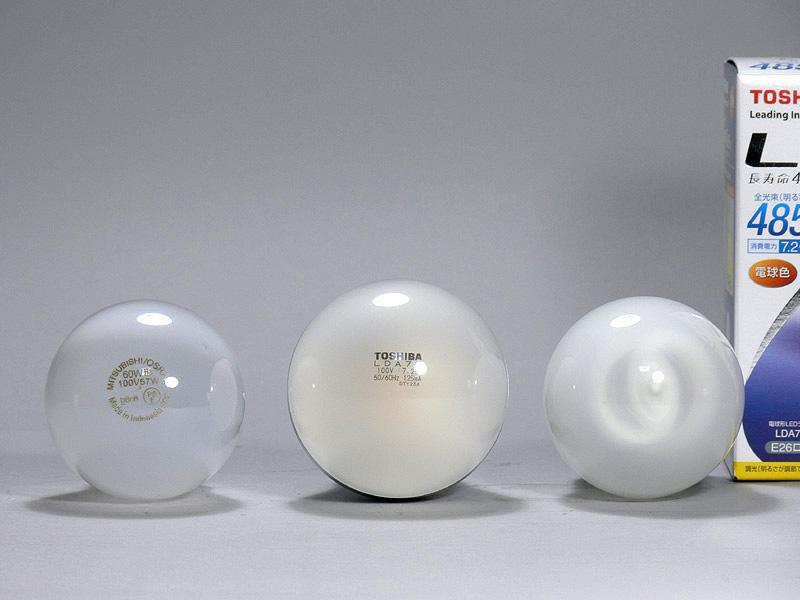 <b>【E-CORE 485lm</b><b>】 </b><br>直径は60mm(中央)で、白熱電球や電球形蛍光灯よりも5mm大きい。光源部は半透明な樹脂製だが、LEDチップは少し透ける程度