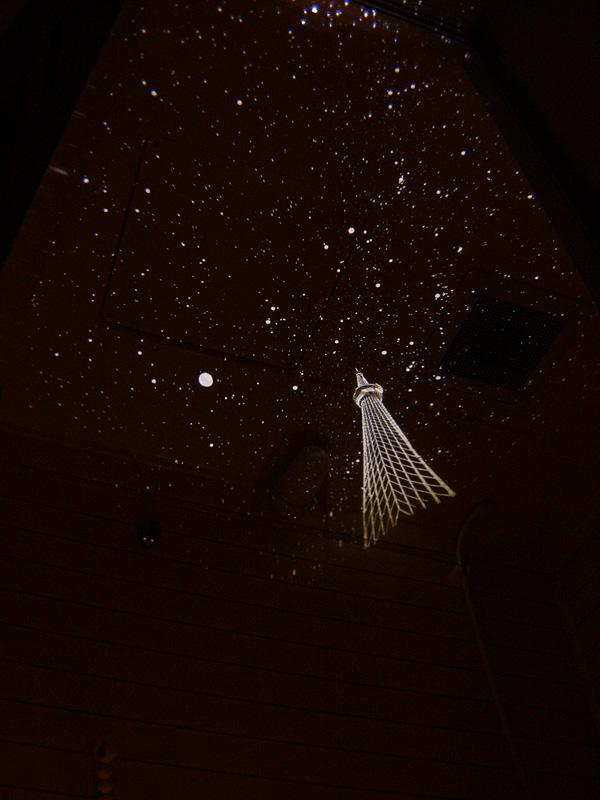 やさしい冬の星空が約2畳の浴室の天井いっぱいにひろがった