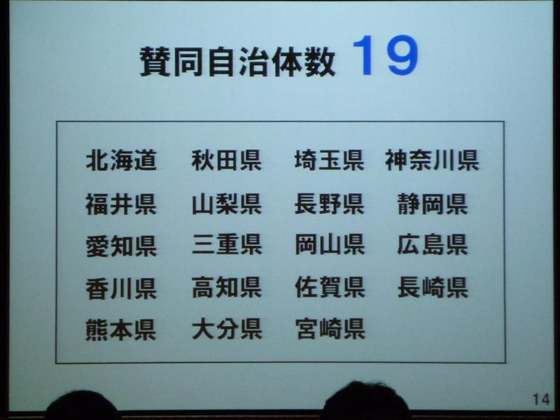 賛同する自治体は19の道県