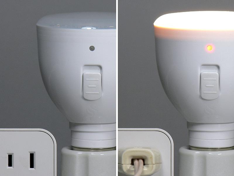<b>【スイッチポジションが口金側:LED電球として】<br></b>通電すれば点灯し充電も始まる。懐中電灯の時は灯りがOFFとなる