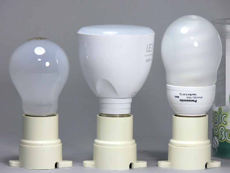 高さは105mm(中央)。40W形白熱電球(左)より11mm背が高い程度。重量は充電池内蔵で150gとLED電球として重めでも、実用範囲内だ