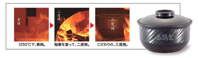 内釜は波文様を付けた「波紋焼土鍋釜」を採用
