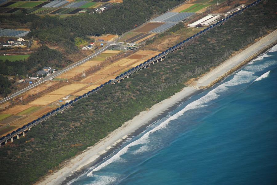 宮崎ソーラーウェイプロジェクトを空から見たところ