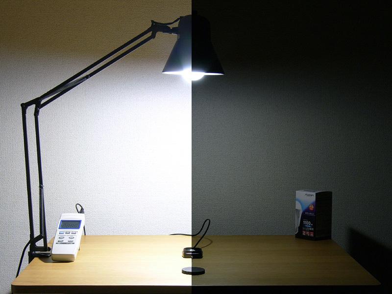<b>【エクスレディア・昼光色:X14-CJ 最大1,290lx】</b><br>X14の昼光色も、100W形白熱電球を超える明るさだった。調光した最小の明るさは72lx