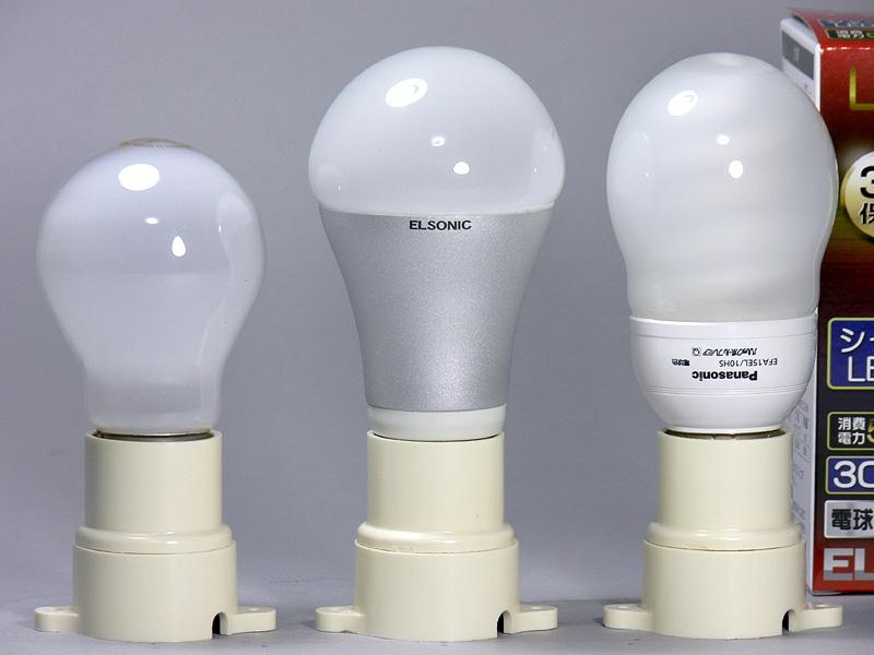 高さは116mm(中央)と、60W形白熱電球(左)より18mm背が高い。電球らしいくびれもあり、放熱部はツルリとしている。口金付近の直径は32mmと、白熱電球と全く同じで、重量は74gと軽いので、多くの取り付ける器具にとりつけやすいだろう