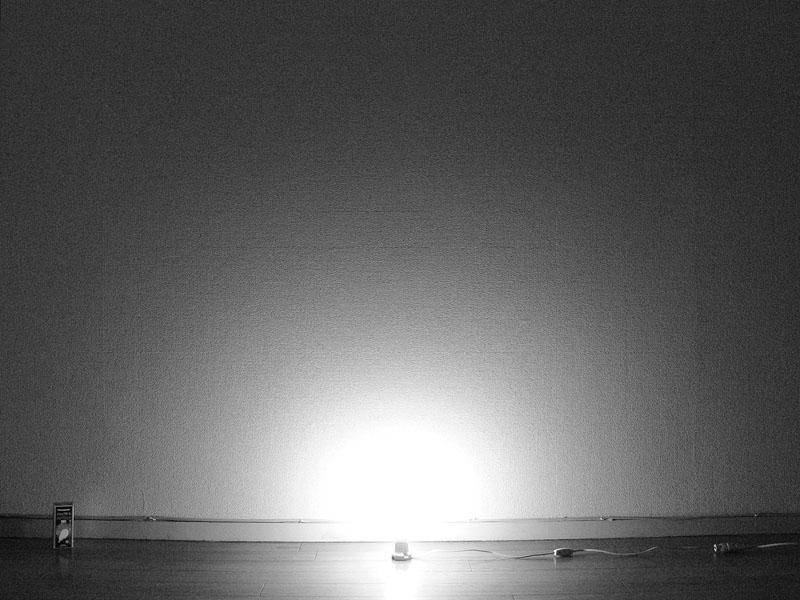 <b>【電球形蛍光灯】</b><br>白熱電球と同じようにソケット付近も光が届く。しかし遠くまでは光が届かない印象だ