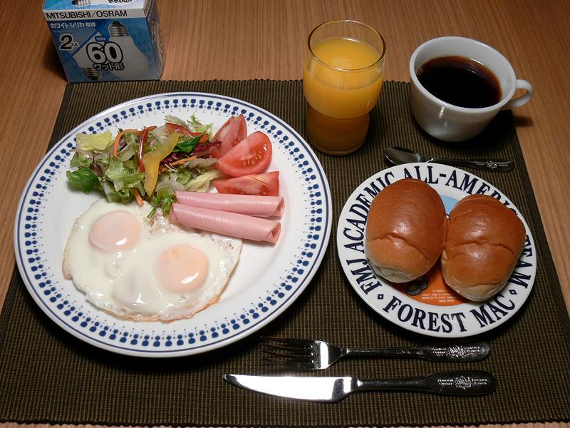 <b>【白熱電球:60W形】</b><br>食事は全体的においしそうに見える。ただし赤みが強いため、モスグリーンのランチョンマットが茶色に見える
