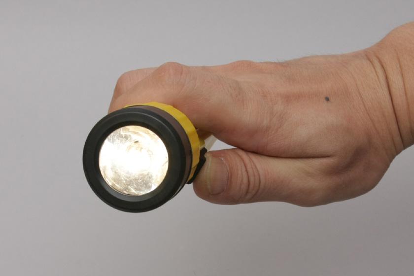 アルカリ乾電池では、豆電球式の懐中電灯が光った