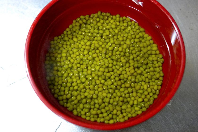 水につけたばかりの緑豆