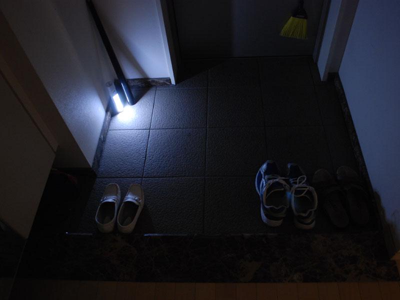 玄関での使用例。十分に明るい