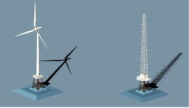 洋上風力発電設備(左)と洋上風況観測設備のイメージ