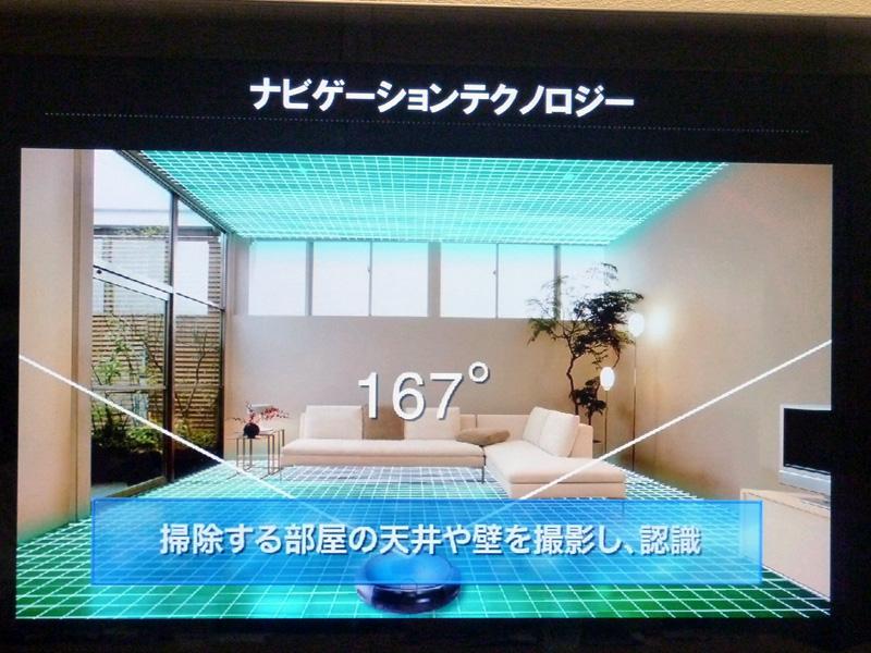 本体に搭載されているカメラで天井や壁を撮影し、空間を認識する