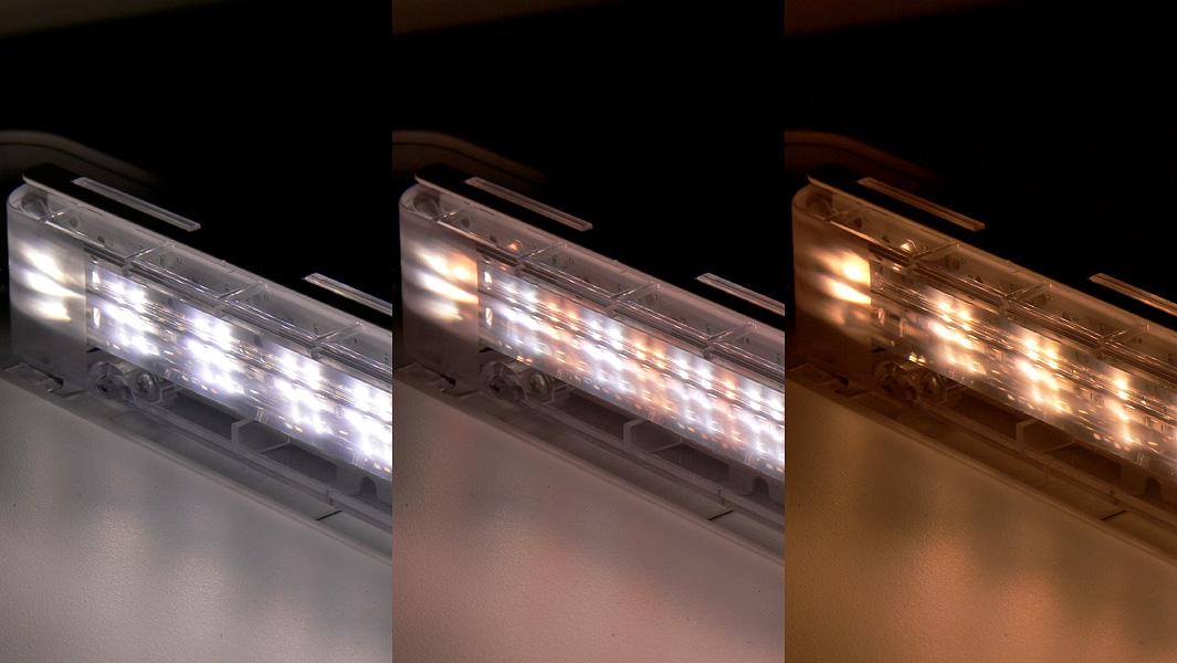 LEDユニットには、白色と電球色のLEDチップが交互に配置されている。左から白色、混色、電球色の場合