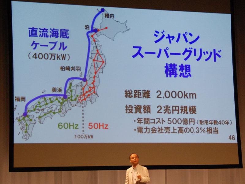 たとえば、日本海側で大きな発電所のある地域を海底ケーブルで接続する。周波数の違いを乗り越えて、送電が可能になる