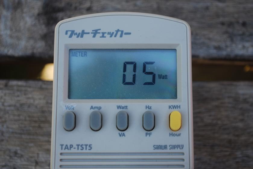ACアダプタでiPad2を充電している際の消費電力。5Wだった