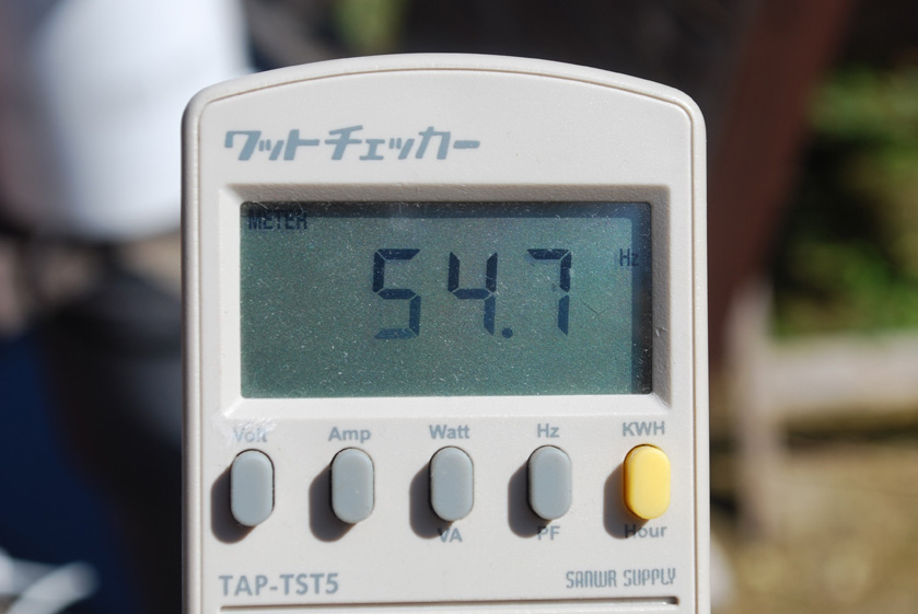 周波数は54.7Hzと表示された