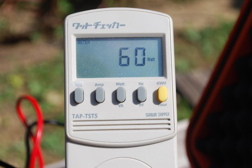白熱電球のみの消費電力は、60Wを示した