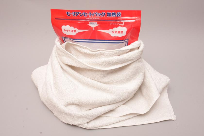 寒い日や加熱に時間のかかる調理をする場合は、バスタオルなどで加熱袋を囲って冷めないようにすると良い